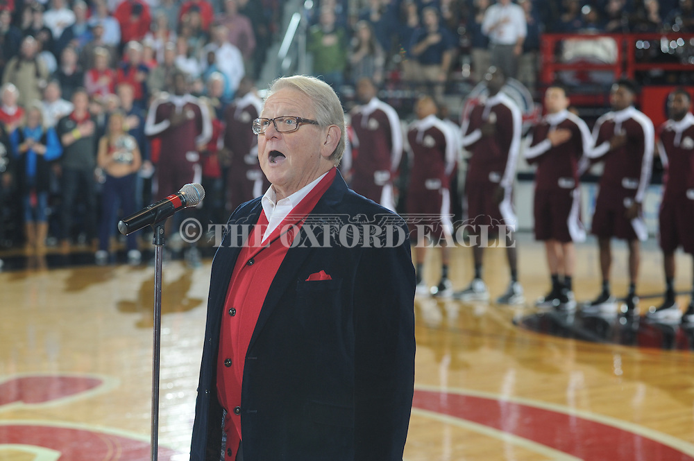 "Allen Harris sings the National Anthem before the Ole Miss vs. Mississippi State game at the C.M. ""Tad"" Smith Coliseum in Oxford, Miss. on Wednesday, January 28, 2015. Ole Miss won 79-73."