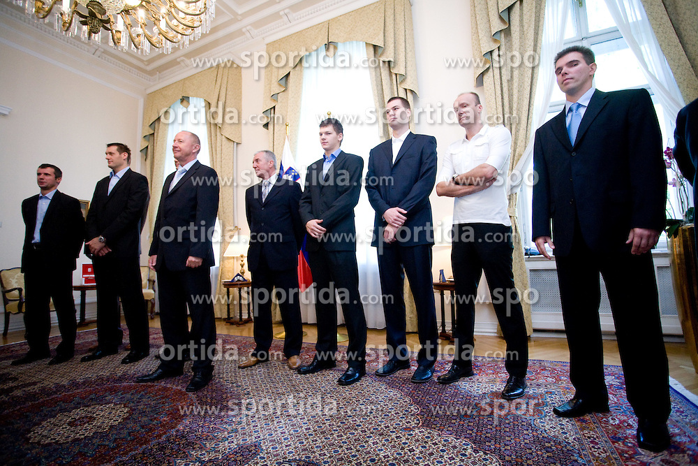 Miro Alilovic, Goran Jagodnik, Iztok Rems, Jaka Klobucar, Uros Slokar, Jure Zdovc and Tomo Mahoric of Slovenian basketball national team after Eurobasket 2009 at reception at president of Slovenia dr. Danilo Türk,  on September 28, 2009, in Presernova 8, Ljubljana, Slovenia.  (Photo by Vid Ponikvar / Sportida)