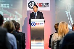 Bristol Sport CEO Andrew Billingham introduses Guest Speaker Karren Brady CBE as Bristol Sport hosts their monthly networking breakfast event at Ashton Gate Stadium - Rogan Thomson/JMP - 25/11/2016 - SPORT - Ashton Gate Stadium - Bristol, England - Big Sports Breakfast 2016.