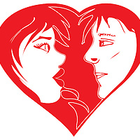 Vector Illustration of in-love couple. Two colors, red and white. Can be used for Valentine Day card or concepts.