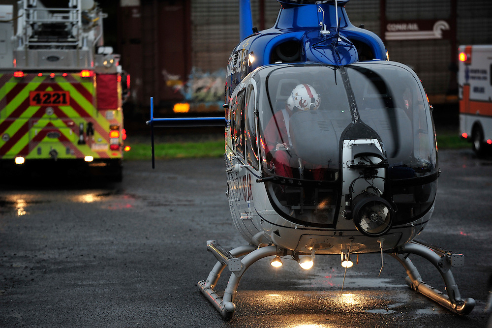 10/11/2013 Northampton, PA Emergency units were called to the area of 19th and Franklin Streets in Northampton Friday morning for a person who was struck by a train. A medical helicopter was called to transport the patient to the hospital. Express-Times Photo   CHRIS POST