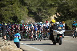 The peloton reaches the top of the first big climb of Stage 1 of the Setmana Cicilsta Valenciana - a 118 km road race, between Rotova and Gandia on February 22, 2018, in Valencia, Spain. (Photo by Balint Hamvas/Velofocus.com)