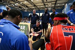 Bristol Flyers head coach Andreas Kapoulas gives a team talk - Photo mandatory by-line: Arron Gent/JMP - 28/04/2019 - BASKETBALL - Surrey Sports Park - Guildford, England - Surrey Scorchers v Bristol Flyers - British Basketball League Championship