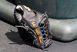 SAN FRANCISCO, CA - APRIL 17:  Detailed view of a baseball glove belonging to Sergio Romo #54 of the San Francisco Giants (not pictured) before the game against the Los Angeles Dodgers at AT&T Park on April 17, 2014 in San Francisco, California. The Los Angeles Dodgers defeated the San Francisco Giants 2-1.  (Photo by Jason O. Watson/Getty Images) *** Local Caption ***