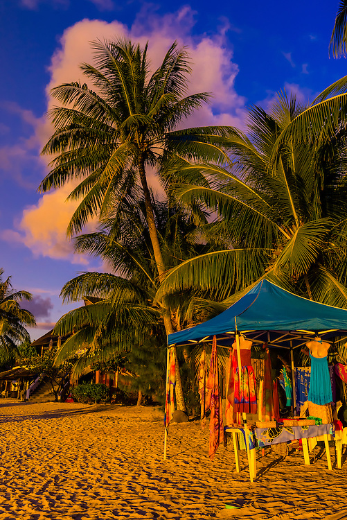 Pareos at a stand at the beach, island of Moorea, French Polynesia.