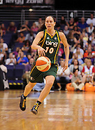 Aug 20, 2010; Phoenix, AZ, USA; Seattle Storm guard Sue Bird (10) dribbles the ball against the Phoenix Mercury at US Airways Center. The Storm defeated the Mercury 78-73.  Mandatory Credit: Jennifer Stewart-US PRESSWIRE