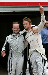 MONTE-CARLO, MONACO - Saturday, May 23, 2009: Jenson Button (GBR, Brawn GP) (R) and team-mate Rubens Barrichello (L) celebrate their pole and third position after a dramatic Monaco Grand Prix qualifying session at the Monte-Carlo Circuit. (Pic by Juergen Tap/Hoch Zwei/Propaganda)