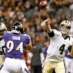 Aug 28, 2014; New Orleans, LA, USA; New Orleans Saints quarterback Ryan Griffin (4) throws against the Baltimore Ravens during the first half of a preseason game at Mercedes-Benz Superdome. Mandatory Credit: Derick E. Hingle-USA TODAY Sports