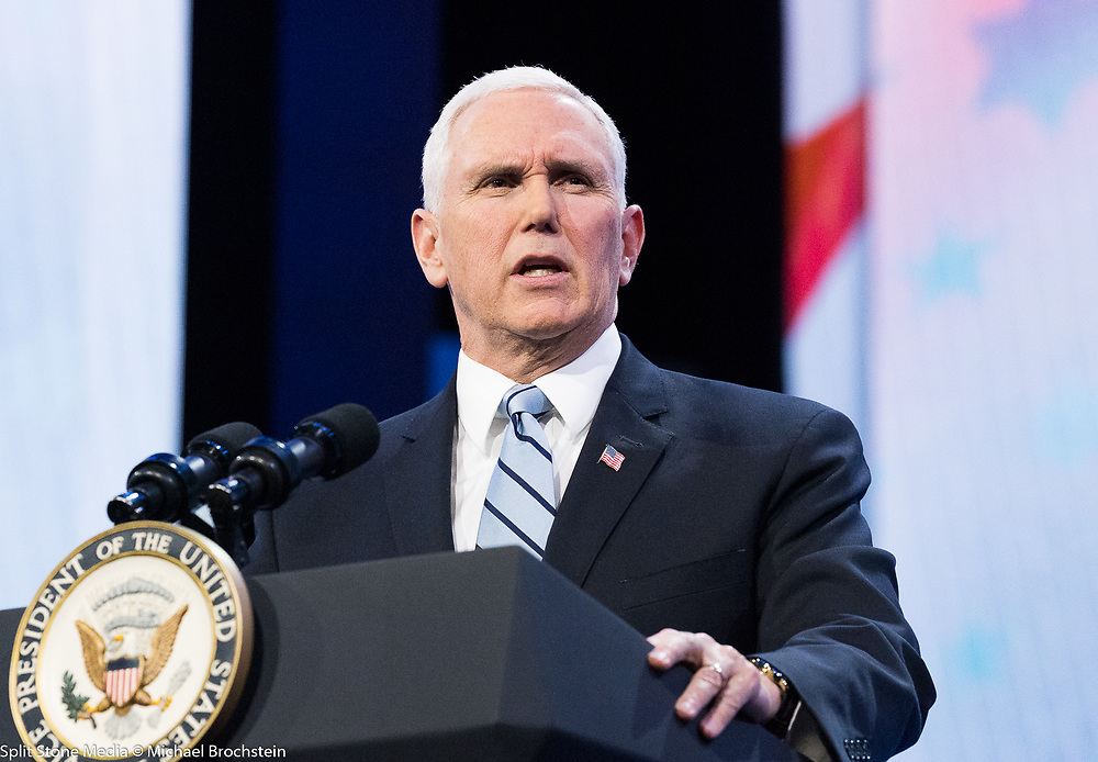 Mike Pence, Vice President of the United States,  speaking at the AIPAC (American Israel Public Affairs Committee) Policy Conference at the Walter E. Washington Convention Center in Washington, DC on March 5, 2018