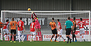 Exeter City goalkeeper Bobby Olejnik tips the ball over the bar during the Sky Bet League 2 match between Barnet and Exeter City at The Hive Stadium, London, England on 31 October 2015. Photo by Bennett Dean.