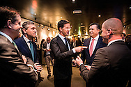 5-3-2015 - AMSTERDAM  Verkiezingsdebat van Rtl in de rode hoed   met Mark Rutte Emiel Roemer , Alexander Pechtold , Diederick Samsom ,en  Buma voor de De Provinciale Statenverkiezingen 2015 zijn Nederlandse verkiezingen waarbij de leden van de Provinciale Staten in de twaalf Nederlandse provincies voor de periode 2015/2019 worden gekozen. Deze verkiezingen vinden plaats op 18 maart 2015. COPYRIGHT ROBIN UTRECHT