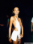 Girl wearing a revealing white dress Ibiza 1999
