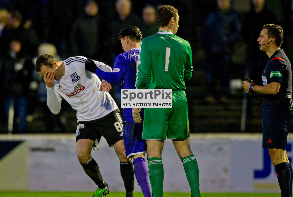 Ayr United v Dunfermline Athletic SPFL League One Season 2015/16 Somerset Park 12 December 2015<br /> Joe Cardle is sent off after an altercation with Peter Murphy<br /> CRAIG BROWN | sportPix.org.uk