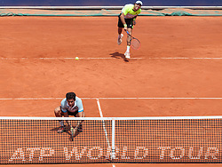 08.08.2015, Sportpark, Kitzbuehel, AUT, ATP World Tour, Generali Open, Finale, Doppel, im Bild v.l.: Nicolas Almagro (ESP) und Carlos Berlocq (ARG) // f.l.: Nicolas Almagro of Spain and Carlos Berlocq of Argentina in action during men' s duobles Final match of the Generali Open <br /> tennis tournament of the ATP World Tour at the Sportpark in Kitzbuehel, Austria on 2015/08/08. EXPA Pictures © 2015, PhotoCredit: EXPA/ JFK