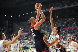 Mason Plumlee of USA vs Jure Balazic of Slovenia during basketball match between National Teams of Slovenia and USA in Quarterfinals of FIBA Basketball World Cup Spain 2014, on September 9, 2014 in Palau Sant Jordi, Barcelona, Spain. Photo by Tom Luksys  / Sportida.com <br /> ONLY FOR Slovenia, France