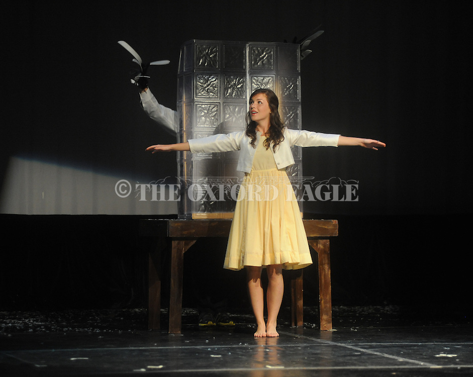 """Oxford High School student Meredith Sanford rehearses for the production of """"Scream"""" in Oxford, Miss. on Wednesday, October 26, 2011."""