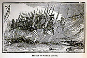 Mexican-American War 1846-1848, caused by the American annexation of Texas.  Battle of Cerro  Gordo or Sierro Gordo, 18 April 1847.  American general Winfield Scott outflanked,  ambushed and defeated Santa Anna's  much larger force.