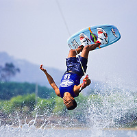 Professional wakeboarder performing at the ESPN Asian X games Qualifier, Phuket, Thailand