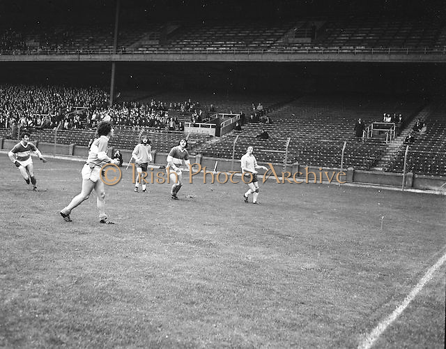 Players from both team waiting to catch the ball as it falls during the All Ireland Senior Gaelic Football Final, Donegal v Offaly in Croke Park on 24 September 1972.