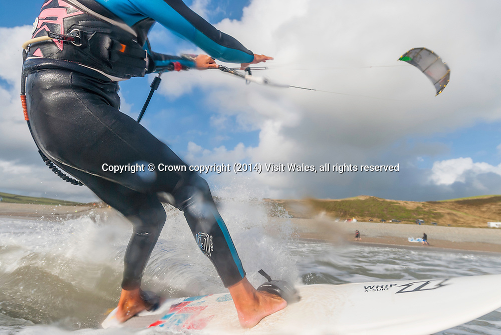 Kitesurfing<br /> Newgale<br /> Pembrokeshire<br /> South<br /> Activities and Sports