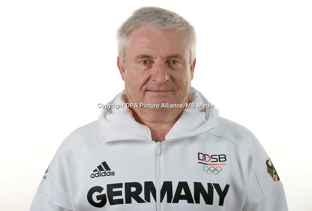Claus-Dieter Roth poses at a photocall during the preparations for the Olympic Games in Rio at the Emmich Cambrai Barracks in Hanover, Germany. July 07, 2016. Photo credit: Frank May/ picture alliance.   usage worldwide