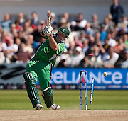 Regan West is bowled by Kyle Mills to end the game during the ICC World Twenty20 Cup match between New Zealand and Ireland at Trent Bridge, Nottingham. Photo © Graham Morris (Tel: +44(0)20 8969 4192 Email: sales@cricketpix.com)