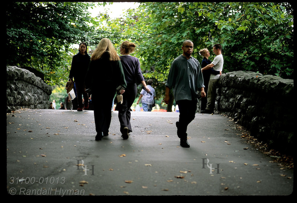 People walk over small bridge at St. Stephen's Green on a September afternoon; Dublin, Ireland.