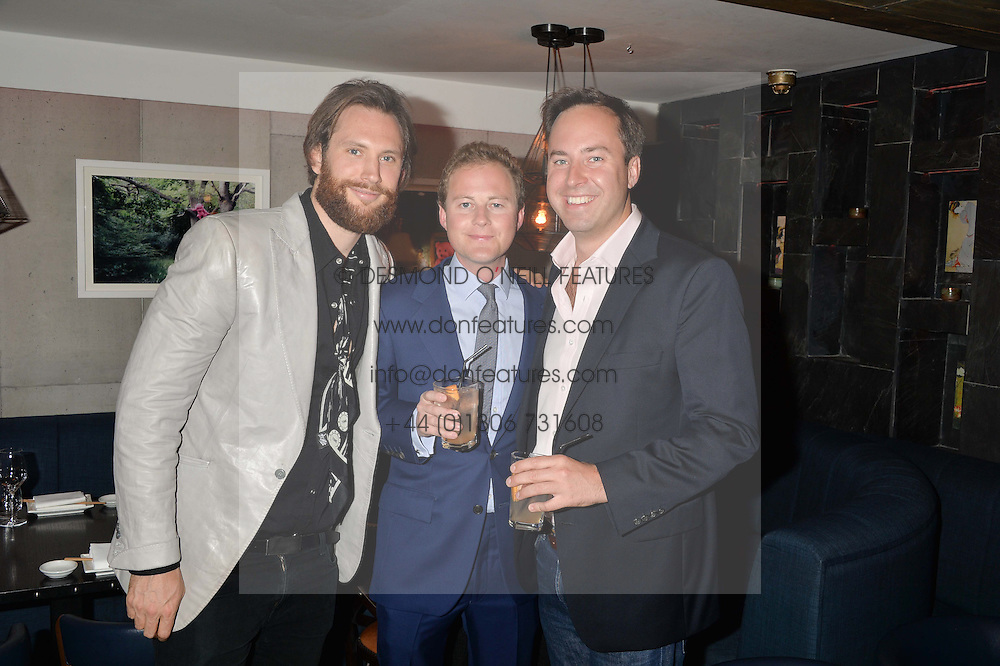 Left to right, MARC BURTON, GUY PELLY and JAMIE MURRAY-WELLS at the launch of Geisha at Ramusake hosted by Piers Adam and Marc Burton at Ramusake, 92B Old Brompton Road, London on 11th June 2015.