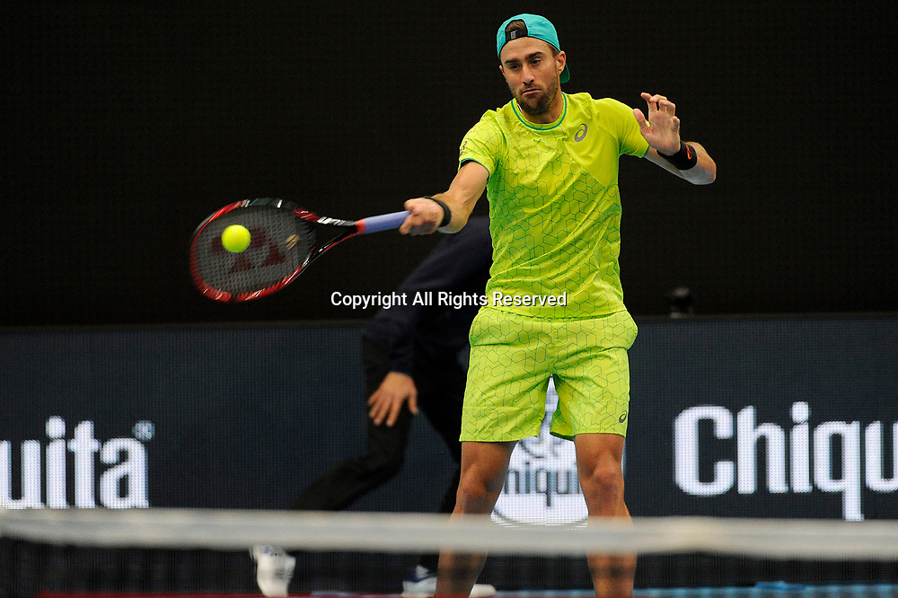 23rd October 2017, St Jakobshalle, Basel, Switzerland; ATP World Tour 500, Swiss Indoors Tennis Tournament; Steve Johnson (USA) in action in the match between Ivan Dodig (CRO) and Marcel Granollers (ESP) against Steve Johnson (USA) and Ryan Harrison (USA)