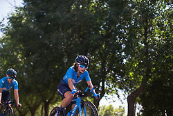 Movistar Women's Team riders warm up for Stage 1 of the Madrid Challenge - a 12.6 km team time trial, starting and finishing in Boadille del Monte on September 15, 2018, in Madrid, Spain. (Photo by Balint Hamvas/Velofocus.com)