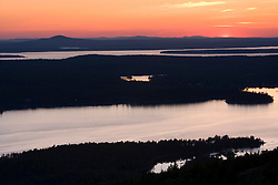 Sunset over Somes Sound as seen from Bald Mountain in Maine USA