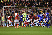 The Blues battling in the Forest goal mouth during the EFL Sky Bet Championship match between Nottingham Forest and Birmingham City at the City Ground, Nottingham, England on 14 October 2016. Photo by Jon Hobley.