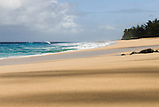 An empty beach n the North Shore of Oahu, Hawaii.