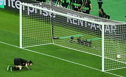 Chelsea's Pedro (not pictured) scores his sides second goal as Arsenal goalkeeper Petr Cech looks on during the UEFA Europa League final at The Olympic Stadium, Baku, Azerbaijan.