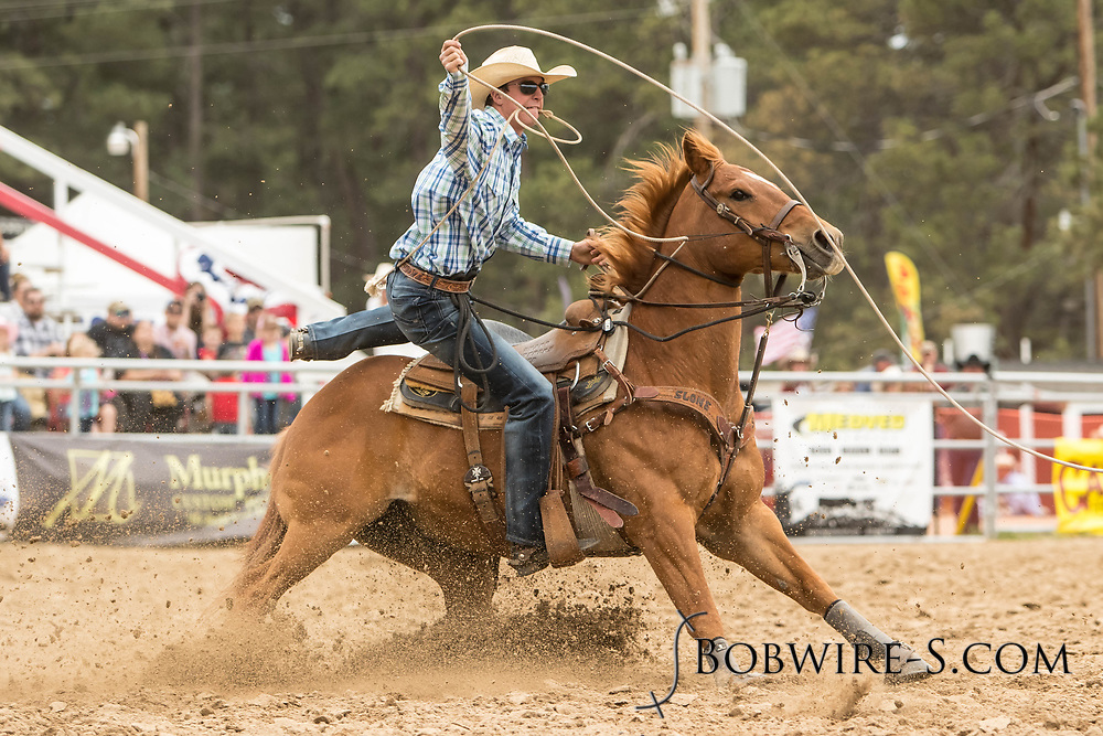 Jesse Staudt makes his tie-down roping run during the third performance of the Elizabeth Stampede on Sunday, June 3, 2018.