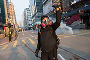 HONG KONG: 20 October 2019 Violent clashes between pro-democracy demonstrators and riot police continued today throughout as number of district in Hong Kong. Hundreds of thousands of protesters marched through the city's streets in defiance of the march being denied permission to take place as demonstrations roll into a 14th week. <br /> Rick Findler / Story Picture Agency