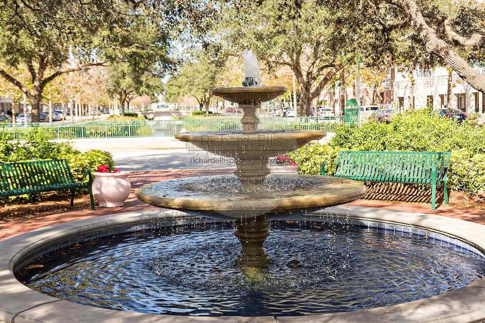 Park and fountain in the Disney created master planned community Celebration, Florida.