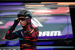 Alice Barnes (GBR) prepares for Healthy Ageing Tour 2019 - Stage 5, a 124.3 km road race in Midwolda, Netherlands on April 14, 2019. Photo by Sean Robinson/velofocus.com