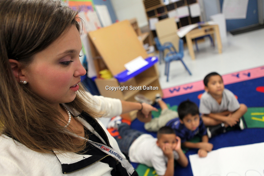 Julianne Carlson, a graduate of Yale, a teacher with Teach For America, teaches a Pre-K class all in Spanish at Tijerina Elementary School in Houston, TX on Friday July 9, 2010. (Photo/Scott Dalton)