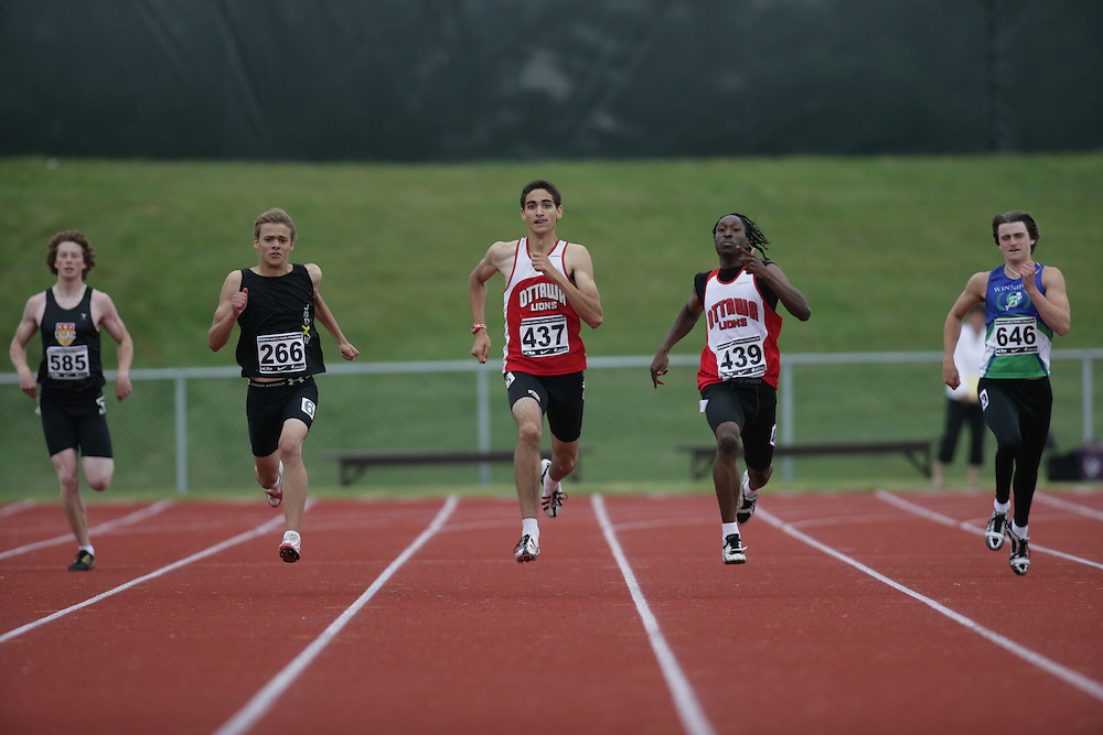 (Charlottetown, Prince Edward Island -- 20090714) Devin Biocchi of Ottawa Lions T.F.C. competes in the 400m final at the 2009 Canadian Junior Track & Field Championships at UPEI Alumni Canada Games Place on the campus of the University of Prince Edward Island, July 17-19, 2009.  Sean Burges / Mundo Sport Images ..Mundo Sport Images has been contracted by Athletics Canada to provide images to the media.