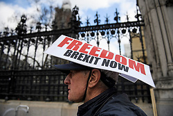 © Licensed to London News Pictures. 26/03/2019. London, UK. A pro Brexit supporter wears a Brexit hat outside the Houses of Parliament in London. MPs have passed an amendment which gives Parliament a series of indicative votes on alternatives to Prime Minister Theresa May's Brexit deal. Photo credit: Ben Cawthra/LNP