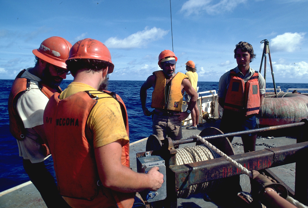 Recovering a bouy as part of the FGGE program, the First Global Atmospheric Research Project in 1979.