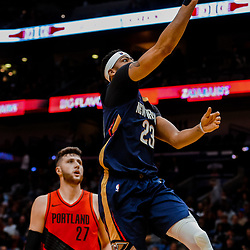 Jan 12, 2018; New Orleans, LA, USA; New Orleans Pelicans forward Anthony Davis (23) shoots over Portland Trail Blazers center Jusuf Nurkic (27) during the second quarter at the Smoothie King Center. Mandatory Credit: Derick E. Hingle-USA TODAY Sports