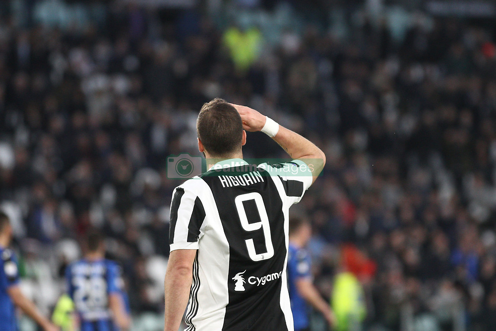 March 14, 2018 - Turin, Italy - Juventus forward Gonzalo Higuain (9) celebrates after scoring his goal during the Serie A football match n.26 JUVENTUS - ATALANTA on 14/03/2018 at the Allianz Stadium in Turin, Italy. (Credit Image: © Matteo Bottanelli/NurPhoto via ZUMA Press)