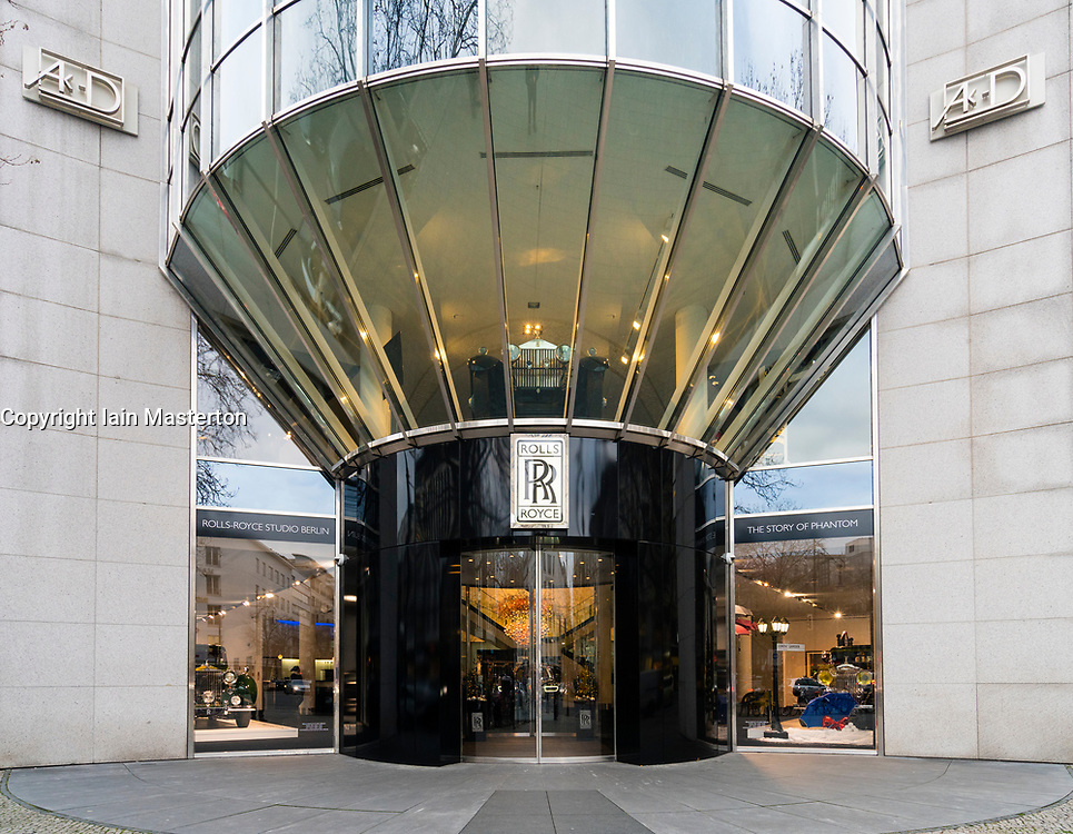 Berlin branch of Rolls-Royce luxury car showroom on famous shopping street Kurfurstendamm , Kudamm, in Berlin, Germany.