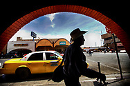 A man walks to the U.S. Port of entry in Calexico, California on Friday, April 6, 2018 in Jacumba, California.  President Doanld Trump is sending National Guard to the border in an attempt to stop the flow of illegal immigrants crossing over.