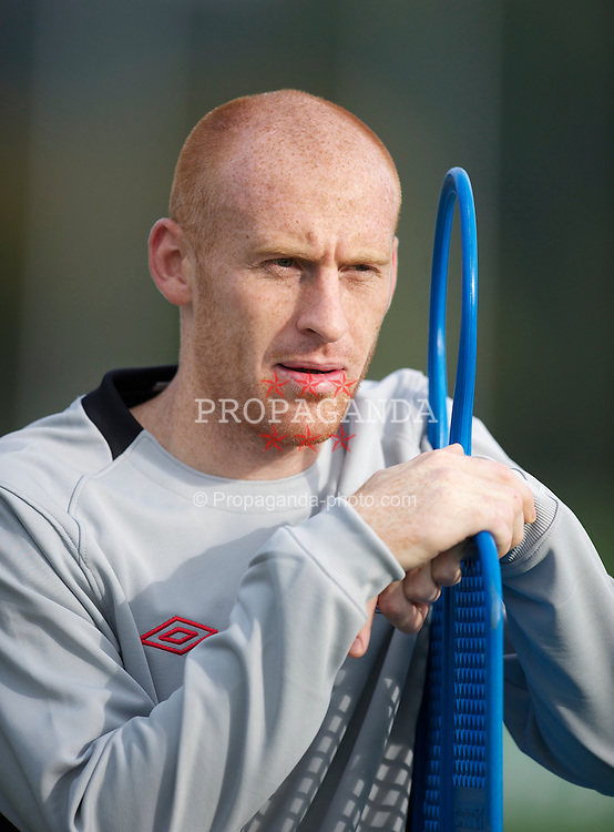 CARDIFF, WALES - Thursday, October 7, 2010: Wales' James Collins during a training session at the Vale of Glamorgan ahead of the UEFA Euro 2012 Qualifying Group G match against Bulgaria. (Pic by David Rawcliffe/Propaganda)
