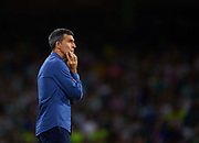 SEVILLE, SPAIN - SEPTEMBER 25:  Head Cocah of Levante UD Juan Ramon Lopez Muniz looks on during the La Liga match between Real Betis and Levante at Estadio Benito Villamarin on September 25, 2017 in Seville, .  (Photo by Aitor Alcalde Colomer/Getty Images)