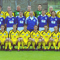 St Johnstone FC squad...20.7.99.<br />Manager Sandy Clark with his first team squad.<br /><br />From left, back, George O'Boyle, Daryn Smith, Kieran McAnespie, Allan Ferguson, Stephen Robertson, Alan Main, Marc McCulloch, Keith O'Halloran, Allan Preston.<br /><br />Middle, Paul Kane, John McQuillan, Gerry McMahon, Roddy Grant, Jim Weir, Manager Sandy Clark, Darren Dods, Nick Dasovic, Gary Bollan, Paddy Connolly, Miguel Simao.<br /><br />Front, Athol Henderson (SFA Community Officer), John Paul McBride, Danny Griffin, Stuart Malcolm, Stuart McClusky, Andrew Whiteford, Martin Lauchlan, Nathan Lowndes and asst manager Billy Kirkwood.<br /><br />Picture Copyright:  John Lindsay / Perthshire Picture Agency.<br />Tel. office 01738 623350. mobile 07775 852112