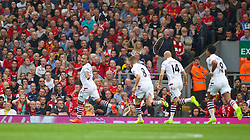 13.09.2014, Anfield, Liverpool, ENG, Premier League, FC Liverpool vs Aston Villa, 4. Runde, im Bild Aston Villa's Gabriel Agbonlahor scores the first goal against Liverpool // during the English Premier League 4th round match between Liverpool FC and Aston Villa at the Anfield in Liverpool, Great Britain on 2014/09/13. EXPA Pictures &copy; 2014, PhotoCredit: EXPA/ Propagandaphoto/ David Rawcliffe<br /> <br /> *****ATTENTION - OUT of ENG, GBR*****